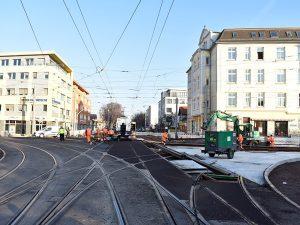 Kreuzungsbereich Leipziger Straße / Raiffeisenstraße / Wiener Straße (Aufnahme: November 18)