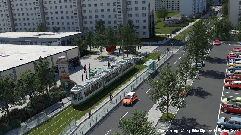 Visualisierung: Straßenbahn an der neuen Haltestelle Hans-Eisler-Platz.