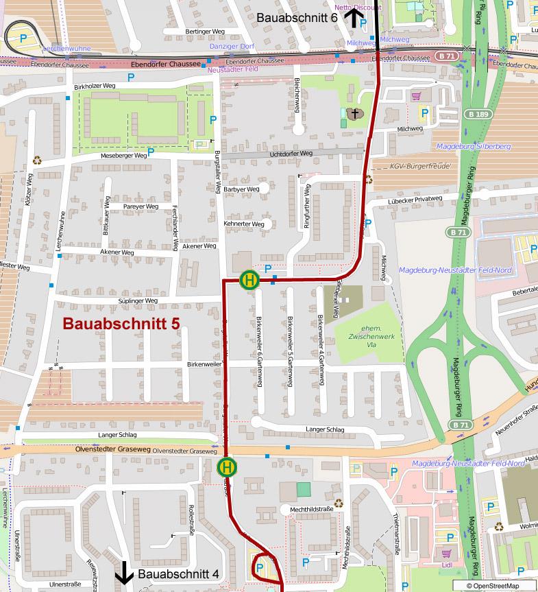 Übersicht über den Verlauf der neuen Straßenbahntrasse.