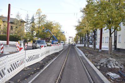 Haltestelle S-Bahnhof Buckau / Puppentheater Richtung Schönebecker Straße im Entstehen.