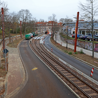 Warschauer Straße kurz vor der Eröffnung der Straßenbahnneubaustrecke Foto: Peter Gercke