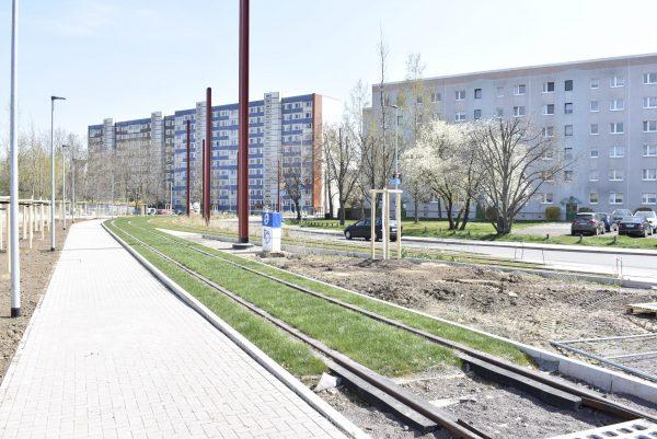 Blick von der Wendeschleife ins Wohngebiet.