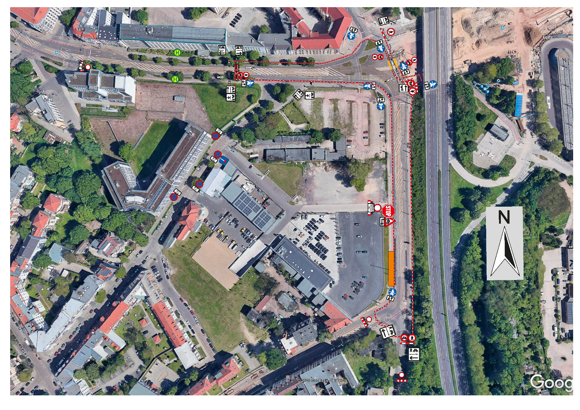 Fuß- und Radwege am Adelheidring